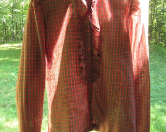 Vintage 1970s Ruffled Plaid Blouse // 70s victorian // psychedelic style // NOS ready to wear
