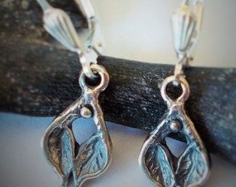 woodland leaf earring , sterling silver