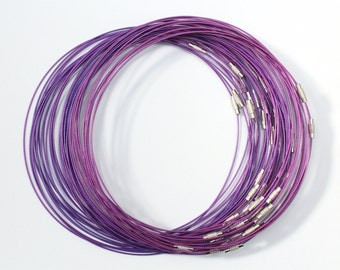 "Necklace - 18"" Purple steel wire choker with silver screw clasp 1mm"