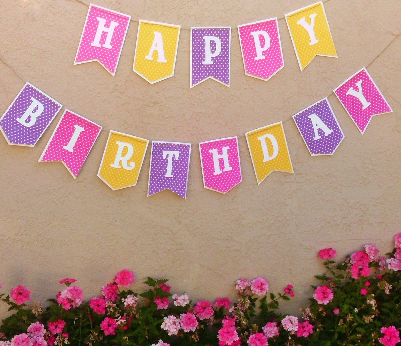 YELLOW PURPLE & PINK Happy Birthday Banner W/ White Polka