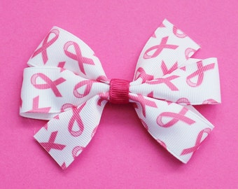 Breast Cancer Ribbon Hair Bow - Breast Cancer Hair Bow - Breast Cancer Pinwheel Hair Bow - Breast Cancer Pinwheel Bow