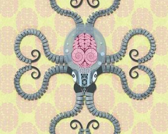 """Digital Art Print of a Steampunk Robot Octopus """"Roboctopus"""" Fine Art Print 8x10"""