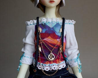BJD Clothes - Twins boy Jeans overalls and jacket ( for MSD bjd doll, Little Gem)