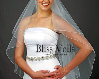 Blusher Veil, Bridal Veil Fingertip,  Ivory Wedding Veil, White Bridal Veil, 2 Tier Veil, Available in any length!  Fast shipping!