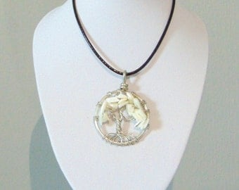 Mother of Pearl Tree of Life Crystal Pendant Necklace (small)