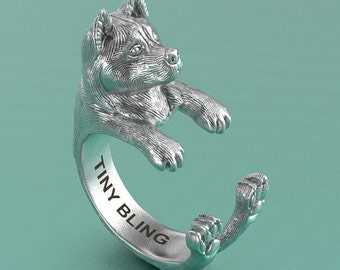 Handmade Akita Jewelry. 925 Sterling Silver Cuddle Ring. Great for all the Dog, Puppy, and Pet Lovers