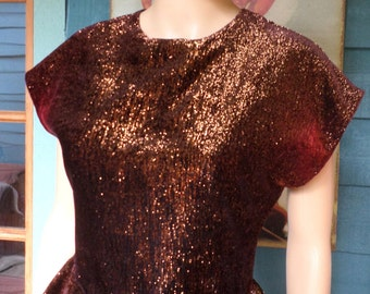 Vintage 1980's Copper Metallic Bling/Sparkle/Glitter/Glam Top W/ Cap Sleeves & Peplum Velvet Buttons Fitted Waist By Francine Bower Size SM
