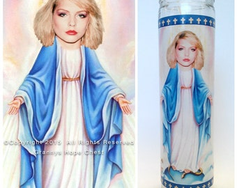 """Debbie Harry Prayer Candle. Blondie! Great Gift! Premium Handmade 9"""" Soy Candle!"""