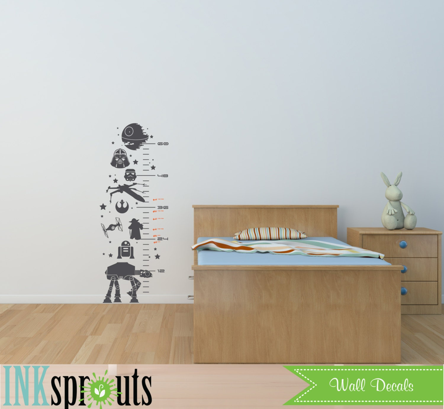 star wars inspired grow chart decal child growth chart the zoom