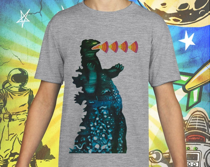 Godzilla Poster on Gray Kids T-Shirt