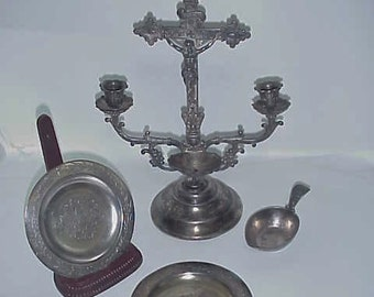 Silver Sick Call Set-Ornate 1880's Silver Extreme Unction Exorcism Sacrament Set