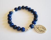 Virgin Mary Bracelet / Miraculous Medal / Lapis Lazuli Bracelet / Patron Saint Bracelet / Virgin Mary Medal / Inspirational gift /