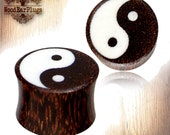 """Organic Tamarind Wood Plugs Double Flare With Laser Engraved Ying Yang White inlay Tribal Ear Plug 2g, 0g, 00g, thru 5/8"""" inch Wooden Gauges"""