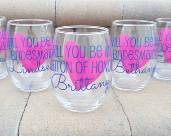 Will you be my Maid of Honor? Will you be my Bridesmaid? Bridesmaid proposal glasses. Maid of Honor gift idea