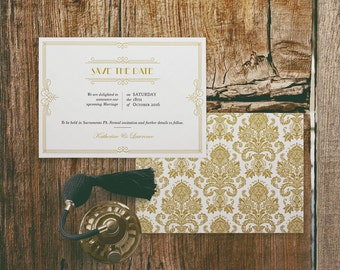 Printable Wedding Save the Date Cards Template in Gatsby 1920s Gold