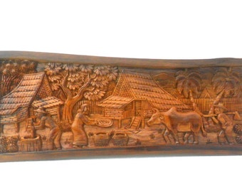 wood carving old thai village life culture hand carved wood natural teak wood home wall hanging