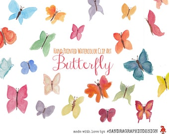 Butterfly clip art, pretty hand painted watercolor clipart of butterflies, 28 clipart 300 dpi PNG  files (5125)