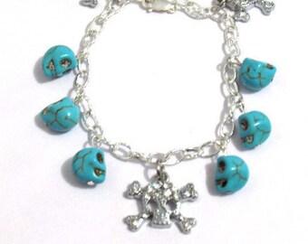 dangly skull bracelet, day of the dead bracelet, charm bracelet