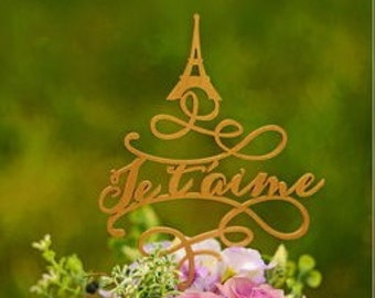 "Wedding cake topper "" Je t'aime"". Cake topper with elf tower."