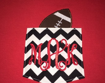 Monogrammed Chevron Pocket T-shirt with Appliqued Football in Pocket. Perfect for Football Moms or Grandmothers!