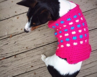 Crochet Dog Sweater Unique Handmade Husky Little Pink Dog Hand Knitted Puppy Sweater