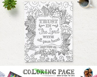 Coloring Page Printable Bible Verse Proverbs 35 Trust In The Lord Instant Download Kids