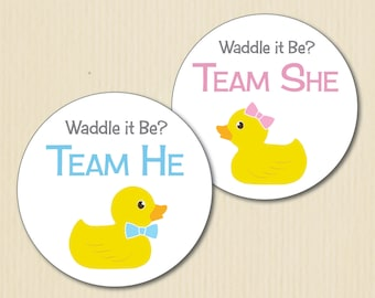 RUBBER DUCKY Gender Reveal Party Stickers, Waddle It Be, Team He, Team She, Baby Shower, Team Pink, Team Blue, Team Boy, Team Girl