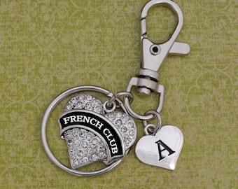 Custom Initial French Club Heart Keychain