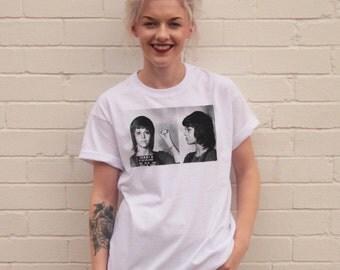Vintage Style Jane Fonda Mugshot - Iconic White T-Shirt