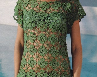 pdf vintage crochet motif tunic top cover up blouse pattern pdf INSTANT download pattern only pdf
