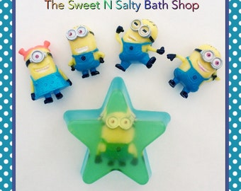 New!!! Set of Two Banana Scented Minion Toy Star Soaps
