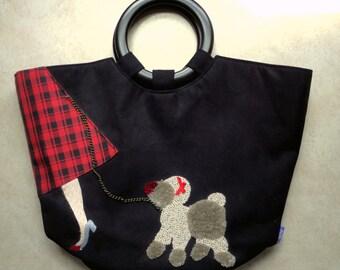 SALE Poodle Skirt Handbag Tote Black Red Plaid JoyOy Boutique Fashion Designer Handbag 1950's Style Retro Doggie Handbag Poodle Accessory