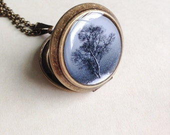 Tree of Winter Locket - Lone tree in the Snowy Night - Fine Art Photography Necklace