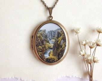 Fjaðrárgljúfur Canyon, Iceland Locket - Enchanted Icelandic Landscape - Brass Photo Locket Necklace