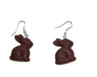 Chocolate Bunny Earrings, Handmade Polymer Clay Bunny earrings, Easter Bunny Earrings