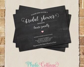 Bridal Shower Invitation, Pink & Chalkboard Invitation, Simple Bridal Invitations, Bridal Shower Invites, Heart Wedding Invitation, BS263