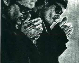 Boondock Saints Pencil Drawing Print by Charcoal Artist Tony Orcutt
