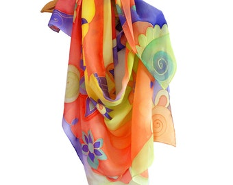 Hand painted multicolor scarf with floral design. Large silk scarf, colorful wrap, big floral shawl. Hand painted sarong, pareo, beach cover