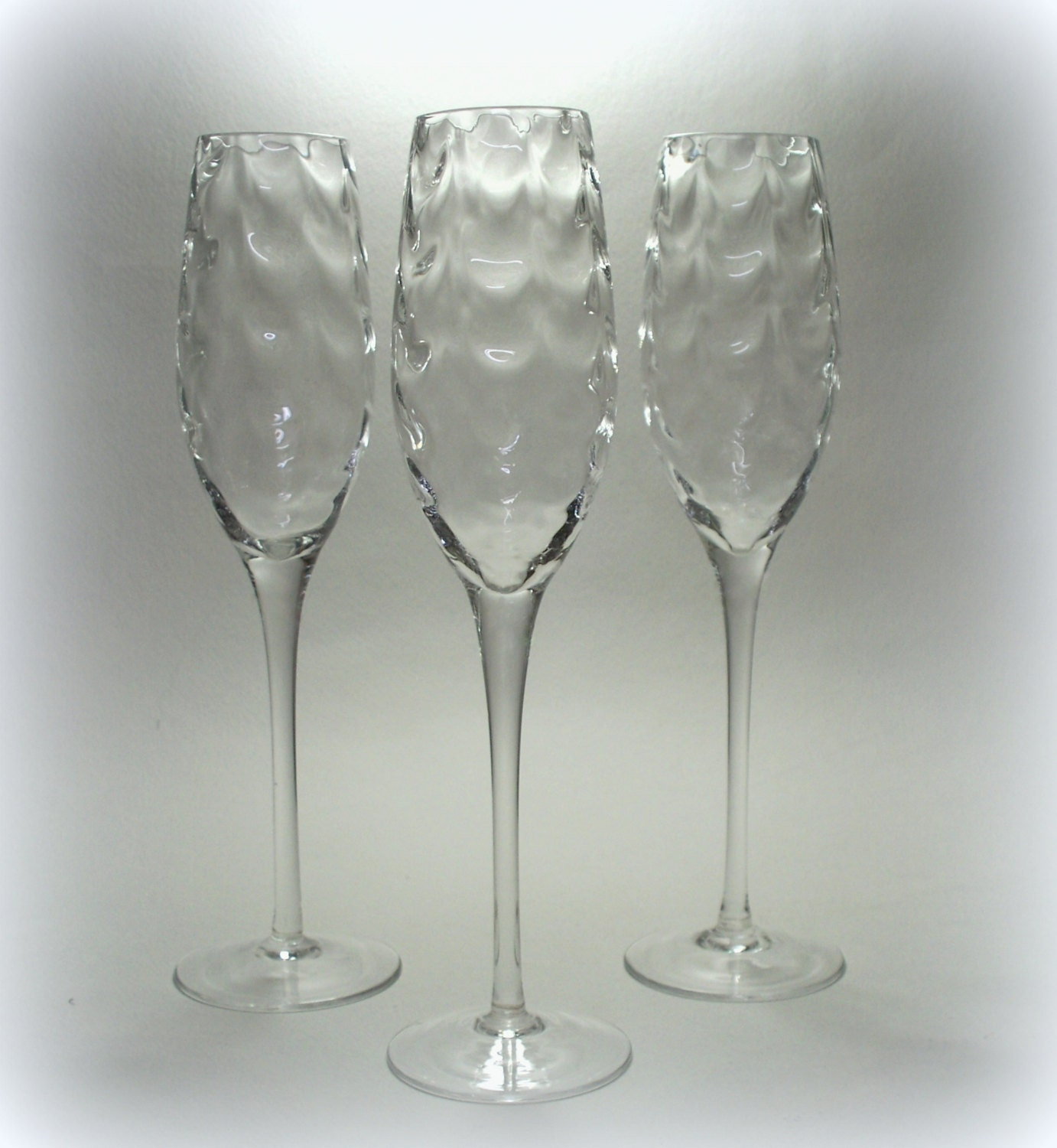 Draped optic champagne flutes hand blown glass set of 5 - Hand blown champagne flutes ...