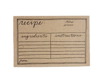 Set of 12 Kraft Letterpress Recipe Cards