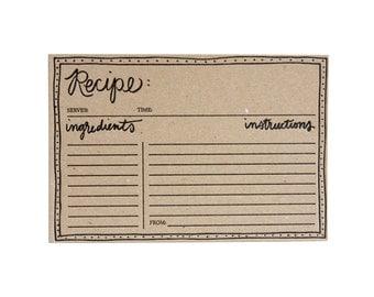Set of 12 Kraft Letterpress Recipe Cards