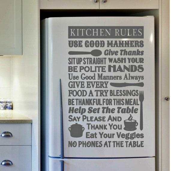 Kitchen Rules Sign Kitchen Decor Kitchen Rules Wall Decal