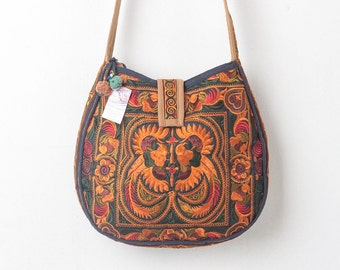 Orange Bird Hill Tribe Crossbody Bag with Hmong Embroidered Large Size Thai Fair Trade (BG303ORGBLS)