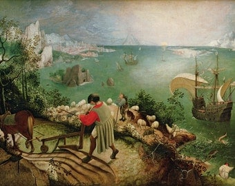 """Landscape With The Fall Of Icarus by Pieter Bruegel, 10""""x16"""", Giclee Print on Canvas"""
