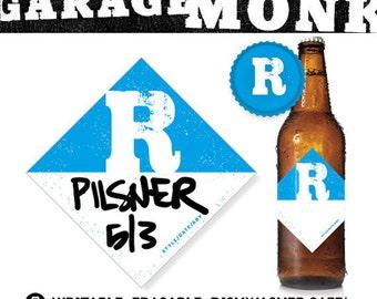 Custom Beer Bottle Label - writable, personalized, monogram homebrew