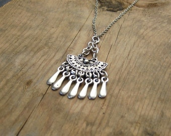 Bohemian Necklace Aztec Half Moon Necklace with Metal Fringe Tassels - Leather Cord or Chain - Silver Boho Necklace, Tribal Ethnic, Layering