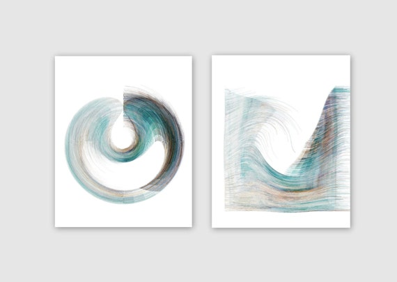items similar to teal brown abstract wall art instant download 2 printable images home decor. Black Bedroom Furniture Sets. Home Design Ideas