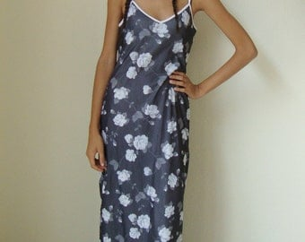 FLORAL LONG DRESS -grunge, boho, cute, summer, flowers, white, black, mesh, 90s, hippie, indie, net, casual, clueless, transparent-