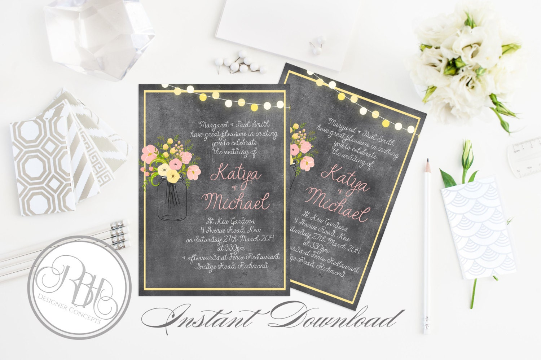 Chalkboard Wedding Invitations: Rustic Chalkboard Wedding Invitation-INSTANT DOWNLOAD