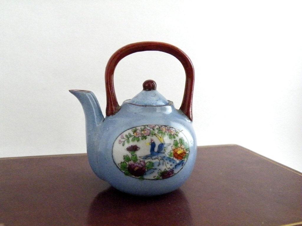 Little Teapot Hand Painted Japan Flowers Blue Trim